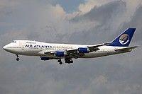 Air Atlanta Icelandic Boeing 747-230B(SF) TF-ARM aircraft, on short finals to Frankfurt am Main (Main-Rhein International Airport. 23/06/2007.