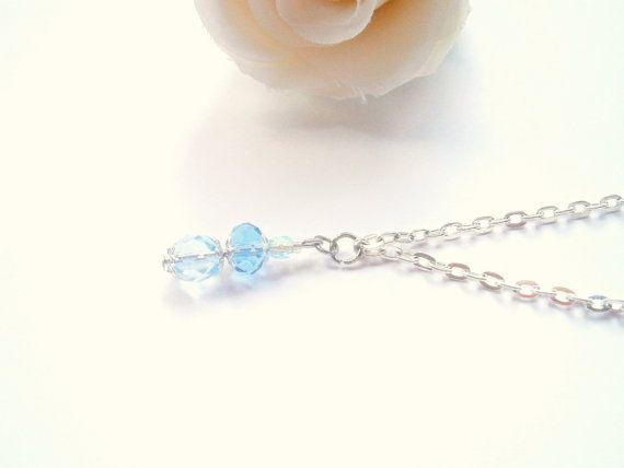 March Birthstone Necklace  Aquamarine tone by GlamorousSparkle, €18.00