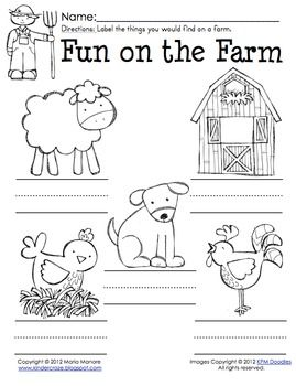Farm Animal Labeling Worksheet - Great for Invented Spelling  FREE