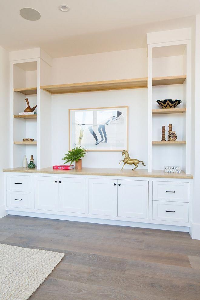 Custom Built In With White Oak Shelves Bathroomshelves Transitional Living Room Design Built In Shelves Living Room Family Room Design