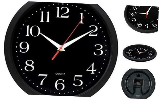 Bernhard Products Black Wall Clock Silent Non Ticking 10 Inch Quality Quartz B Ebay In 2020 Black Wall Clock Wall Clock Silent Wall Clock