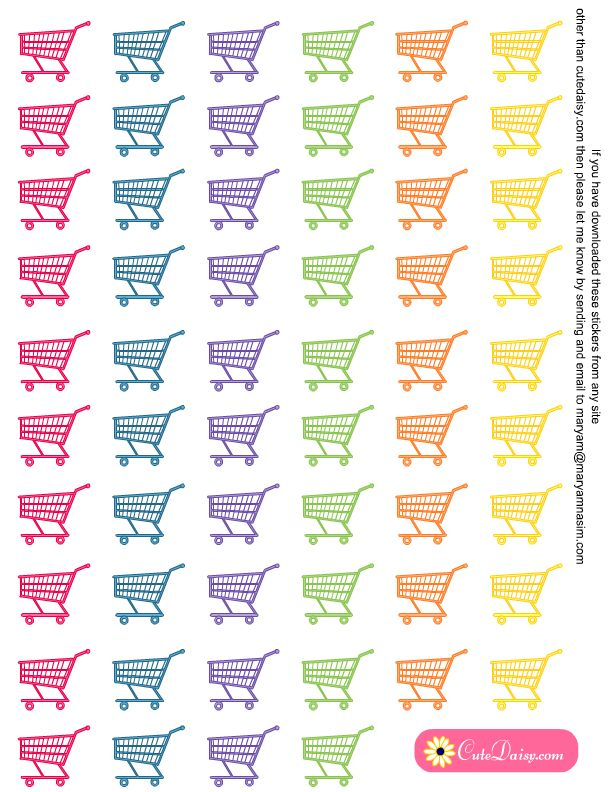 Free Printable Shopping Cart Stickers from cutedesigns.com