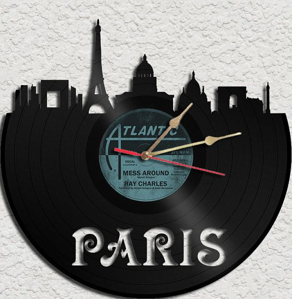 Paris Theme Vinyl Record Clock Upcycled vinyl records Great Gift