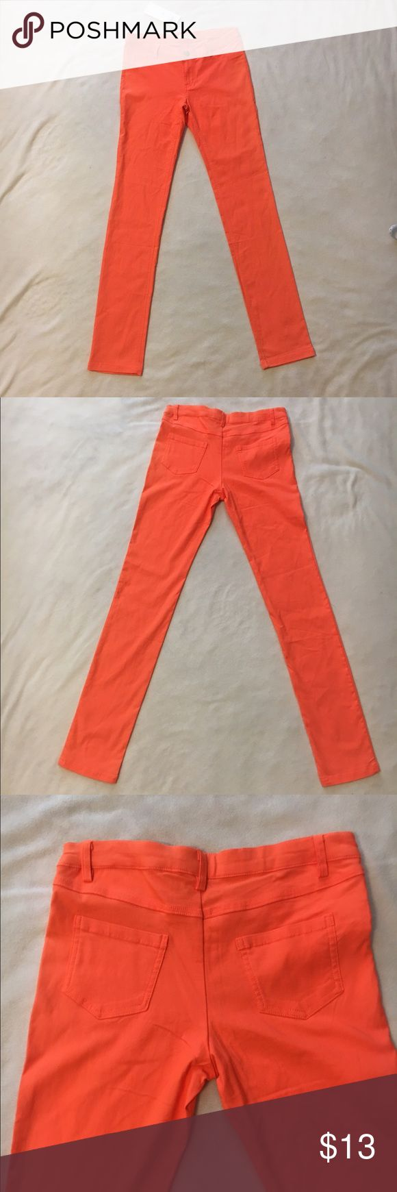 """FREE STUFF!!  Orange stretchy skinny jeans Orange stretchy skinny jeans, 32"""" inseam, new with tags.  Colored pants are buy one get one free.  Just let me know in the comments. Hot Delicious Jeans Skinny"""