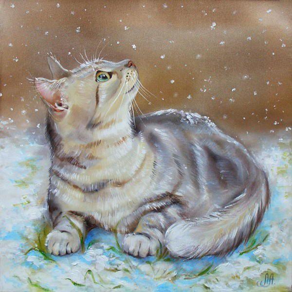 cat art images | Winter cat paintings. Annet Loginova - The First Snow