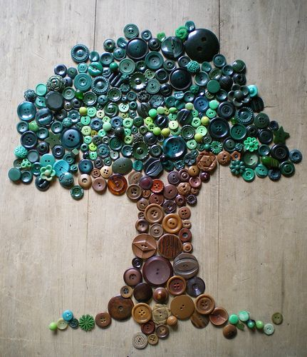 Artwork made from buttons. {Tip: Buy cheap clothes with interesting buttons at thrift stores. Some thrift stores sell bags of buttons for only a few dollars}