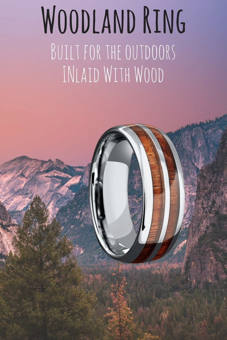 8mm Silver Tungsten Koa Wood Ring with Tungsten Stripe | Handcrafted ...