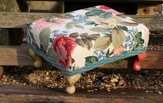Granny's Floral Disco Footstool by OhBoxinghare on Etsy, £60.00.  A celebration of colour and quaintness. Now resplendent in flowers your Granny would be proud of.
