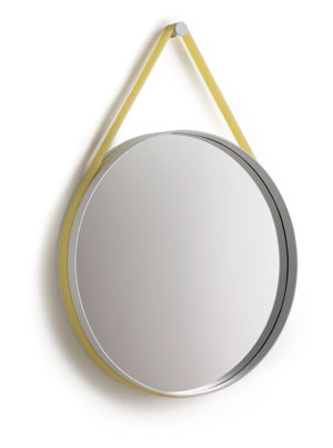 Strap Mirror - yellow Ø70 by HAY