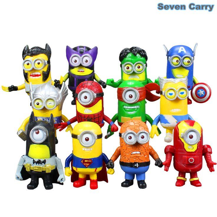 12 pcs Minion Avengers asseclas super-heróis Thor Hulk Wolverine Batman homem de ferro Flash Superman Spiderman Toy figuras 8 cm CSSA2(China (Mainland))