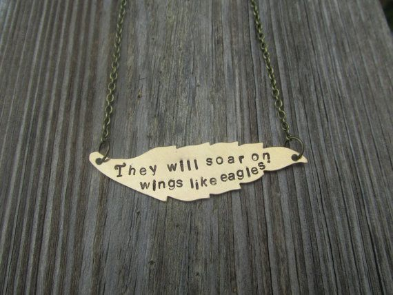 Wing Bible Verse Necklace Isaiah 4031 by savinggrace28 on Etsy, $20.00