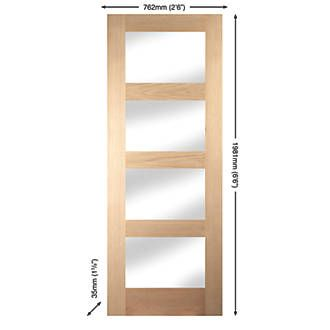 Order online at Screwfix.com. 4-light glazed interior door with clean, minimal, contemporary lines to enhance both modern and traditional interiors. Can be trimmed by 5mm from all 4 edges. FREE next day delivery available, free collection in 5 minutes.