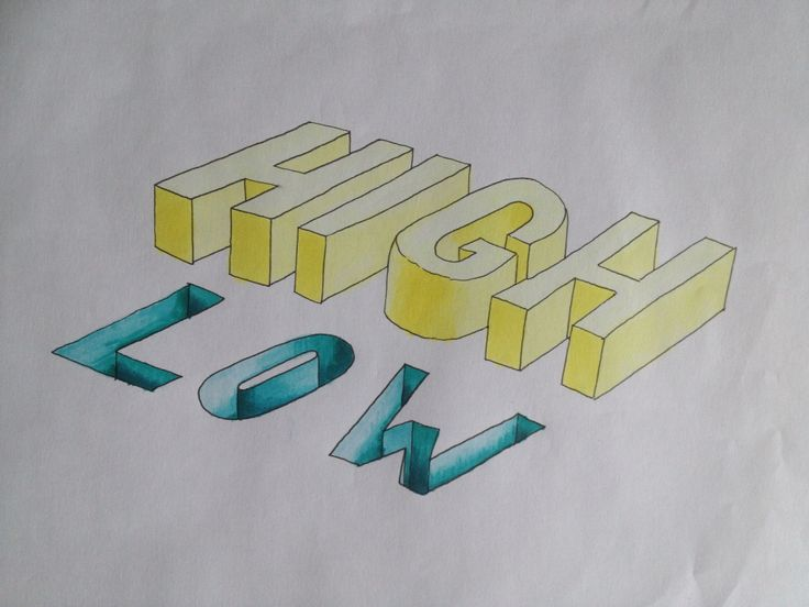 #type #typography #lettering #illusion #illustration #copic #sketch #drawing #high #low #yellow #blue #3D #shadow