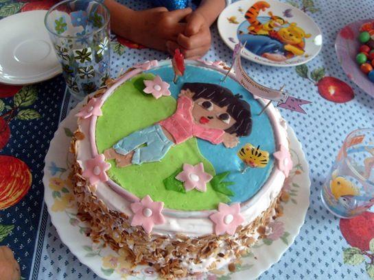 gateau d'anniversaire Dora l'exploratrice