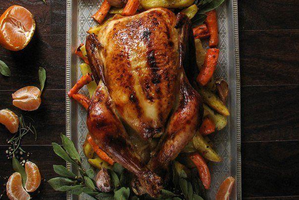 Курица, запеченная в мандариновой глазури