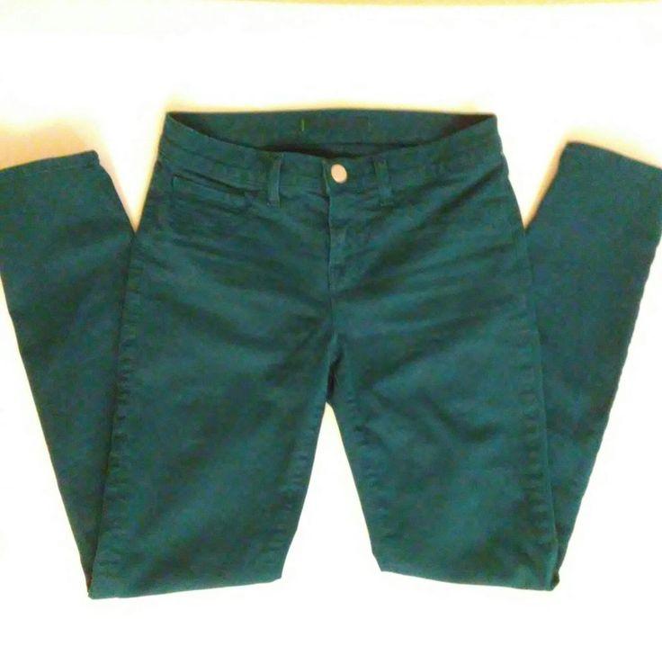 J BRAND Jeans Skinny Leg Teal Riviera Blue Colored Denim Stretch Size 26 8991A #JBrand #CapriCroppedLeggingsSlimSkinny