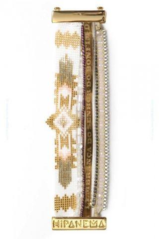 Manchette multi-bracelets Seychelles dorée, par Hipanema.