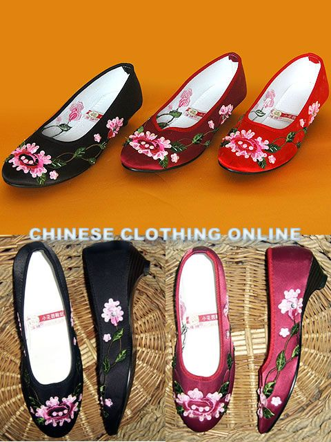 Low Heel Floral Embroidery Beaded Shoes (Multicolor)