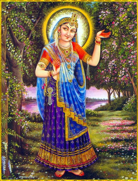 """♥ SHRI RADHA ♥ """"O Shri Radha, O Queen of Vrindavana, You are a river flowing with the nectar of mercy. Please be kind upon me, and give me a little service at Your lotus feet."""""""