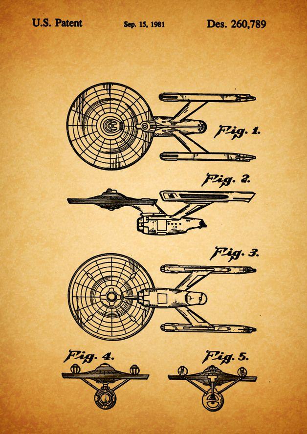 USS Enterprise, Raumschiff, Film, Poster, Patent  http://de.dawanda.com/product/77476363-USS-Enterprise-Raumschiff-Film-Druck-Patent