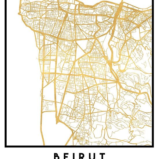 BEIRUT LEBANON CITY STREET MAP ART -   An elegant city street map of Beirut, Lebanon in gold, with the exact coordinates of the city, make up this amazing art piece. A great gift for anybody that has love for this city. You can never go wrong with gold. I love my city.