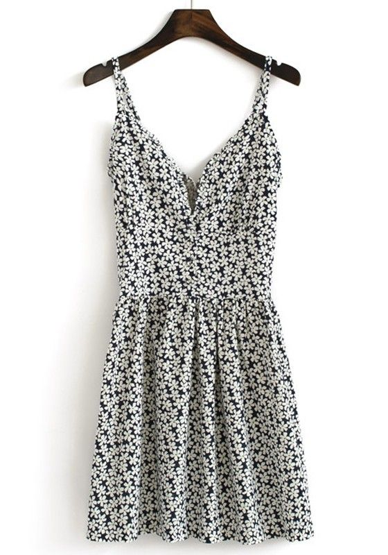 Multicolor Floral Pleated Shoulder-Strap V-neck Cotton Dress. I LOVE THIS
