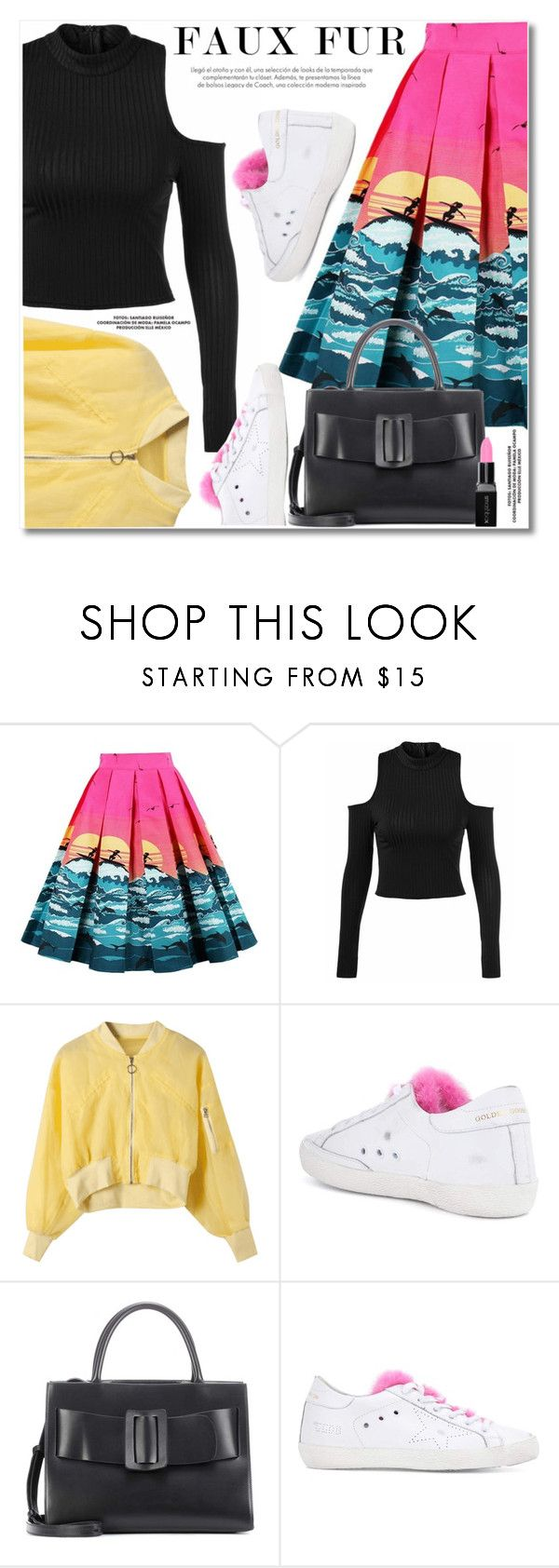 """""""Wow Factor: Faux Fur"""" by svijetlana ❤ liked on Polyvore featuring Golden Goose, Boyy and Smashbox"""