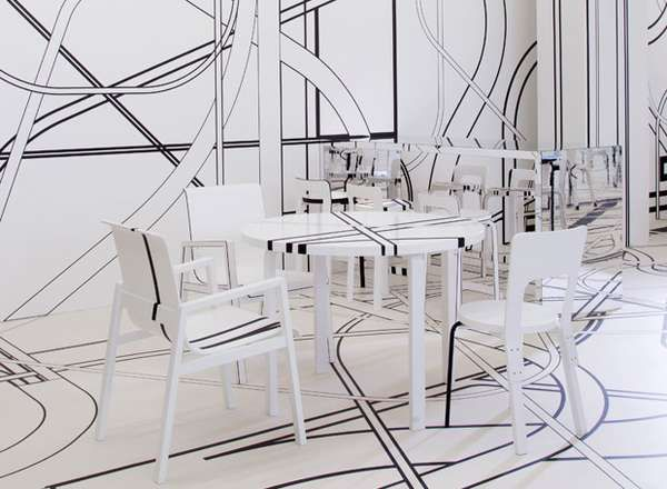 Optical Illusion Interiors - Logomo Cafe Features a Mind-Bending Design by Tobias Rehberger (GALLERY)