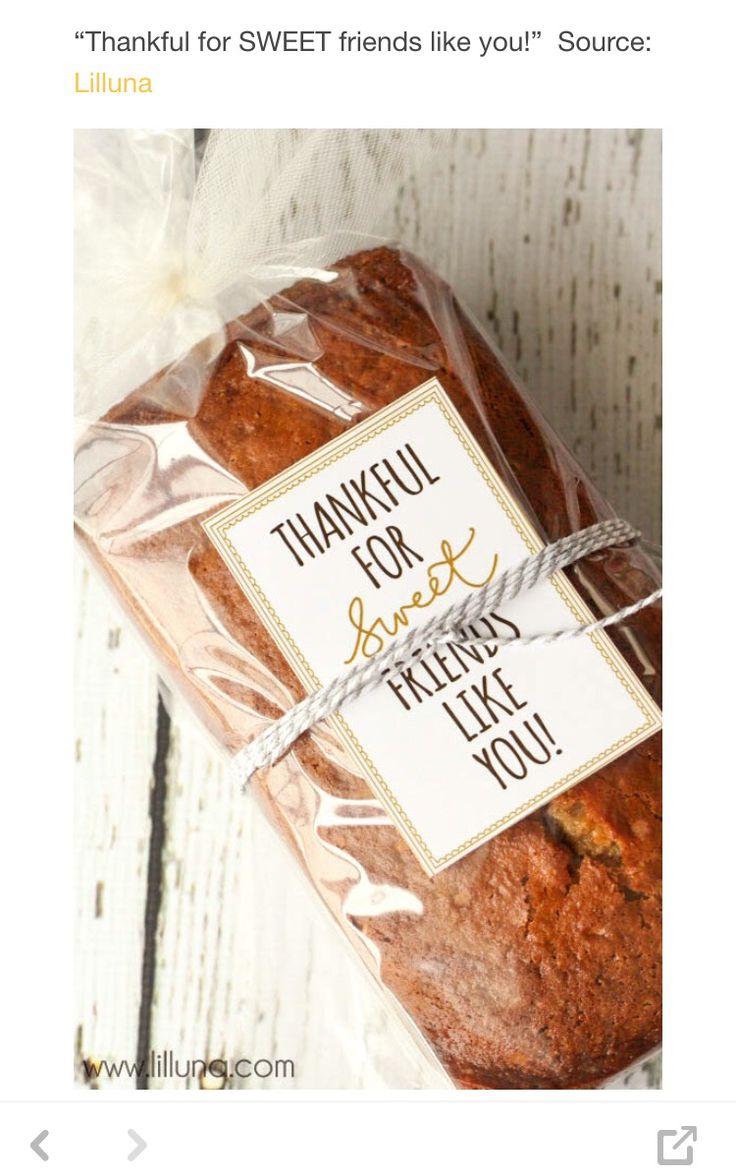 Thank you favors pumpkin bread Thanksgiving