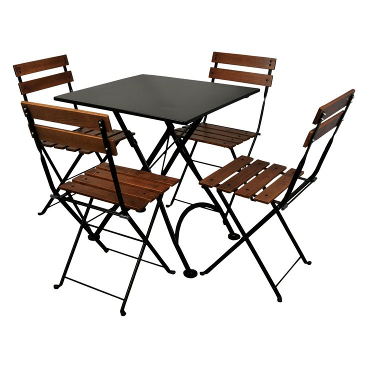 Outdoor Furniture Designhouse French Cafe Bistro Chestnut Wood 5 Piece Square Metal Folding Patio Dining Set - 4113S-5502CW(4)-BK