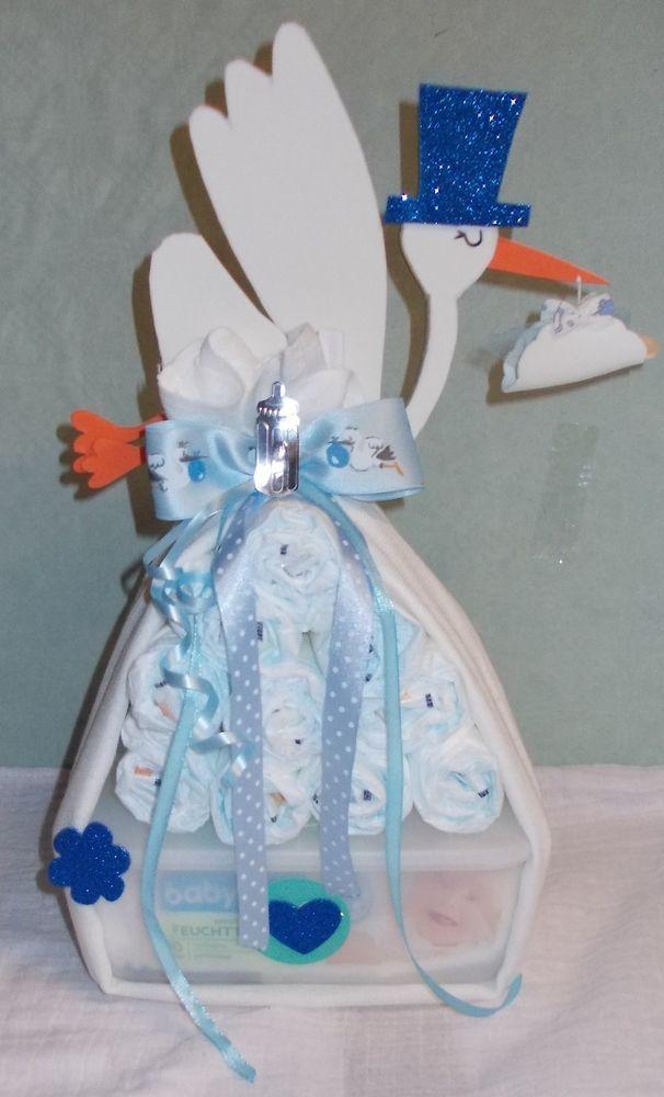 ♥ Windeltorte Windelbündel blau Babygeschenk Taufgeschenk Mitbringsel Junge ♥