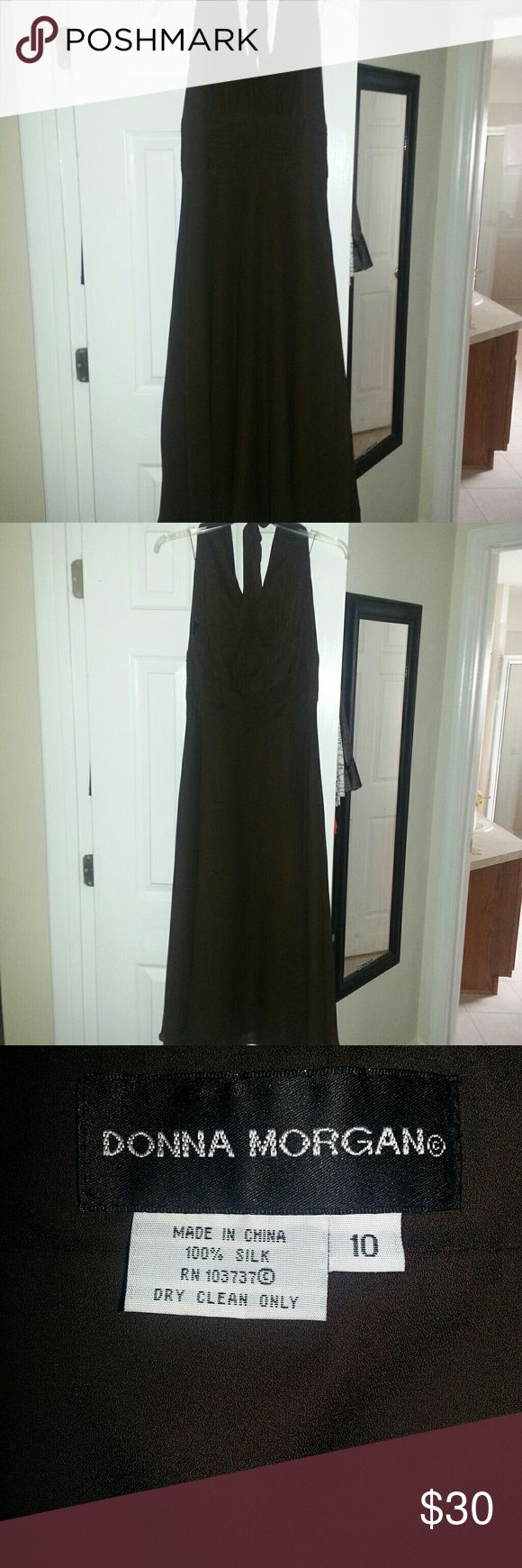 """Donna Morgan 100% silk brown halter dress Donna Morgan 100% silk chocolate brown calf length fully lined dress. Ties behind the neck & has an invisible zipper in middle of back. Has 4"""" of fabric rouching under bustline all the way around the dress. Skirt is full & flowy.  Dress was never worn. Donna Morgan Dresses Midi"""