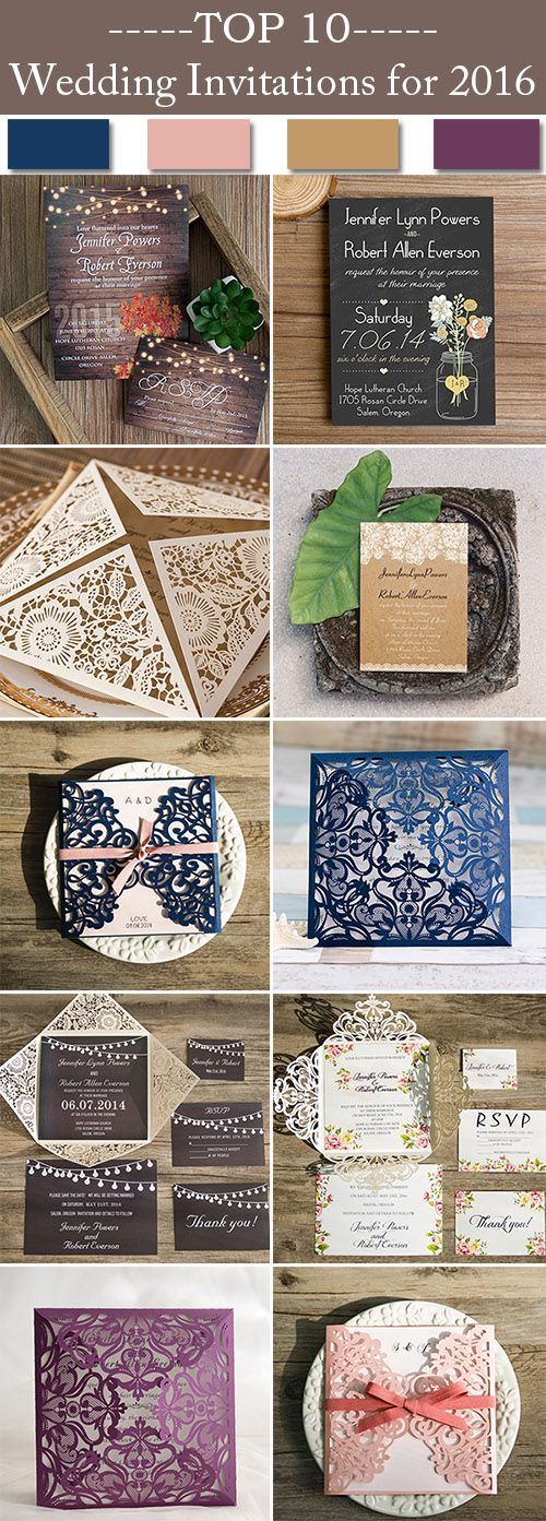 Top 10 Country Rustic Wedding Invitations 2016 Trends @elegantwinvites-Free Shipping & RSVP Cards & Envelopes