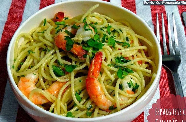 Esparguete com camarão, alho e coentros - Receitas Para Todos os Gostos