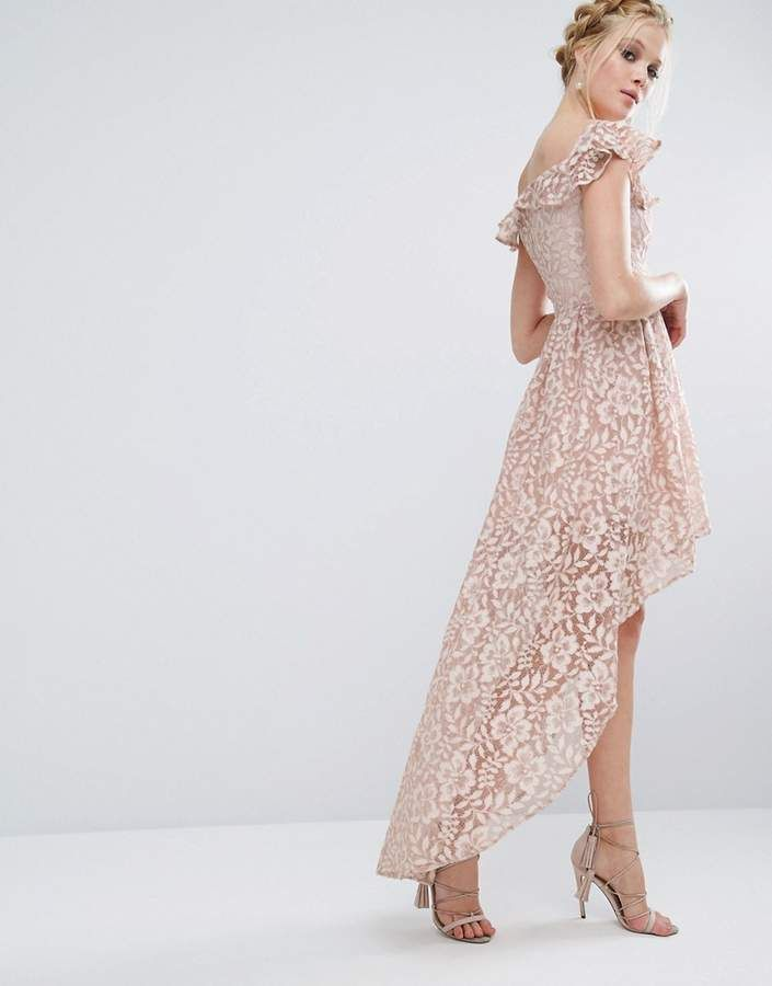 4d46c239fca9 Chi Chi London Lace Asymmetric Off The Shoulder Dress With Frill Details