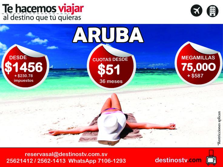 ¡Aprovecha este paquete hacia #Aruba un paraíso en el corazón del Caribe! Paquete incluye:  - Boleto aéreo - Traslados  - 5 días - 4 Noches de alojamiento - Alimentación en Plan todo incluido - Uso de las instalaciones del hotel  - Impuestos sobre el alojamiento - Tarjeta de asistencia de viajes * Restricciones aplican * Pre compra válido hasta Julio 11. Viaja con #DestinosTV, Compra tu paquete ahora llamando al teléfono : 25621412 / 25621413. *Paquete sujeto a disponibilidad
