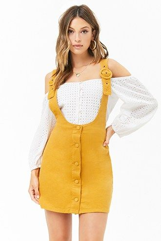 411580838d9 Corduroy Button-Front Overall Skirt
