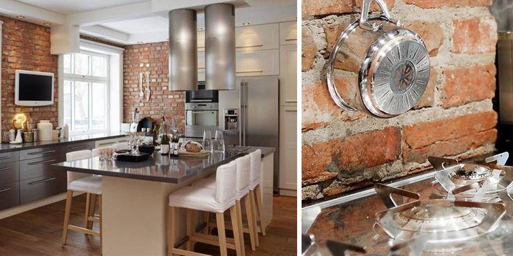 MURSTEIN: Å vise frem en vegg eller to av murstein gir den rette fabrikk-følelsen på et industri-kjøkken.