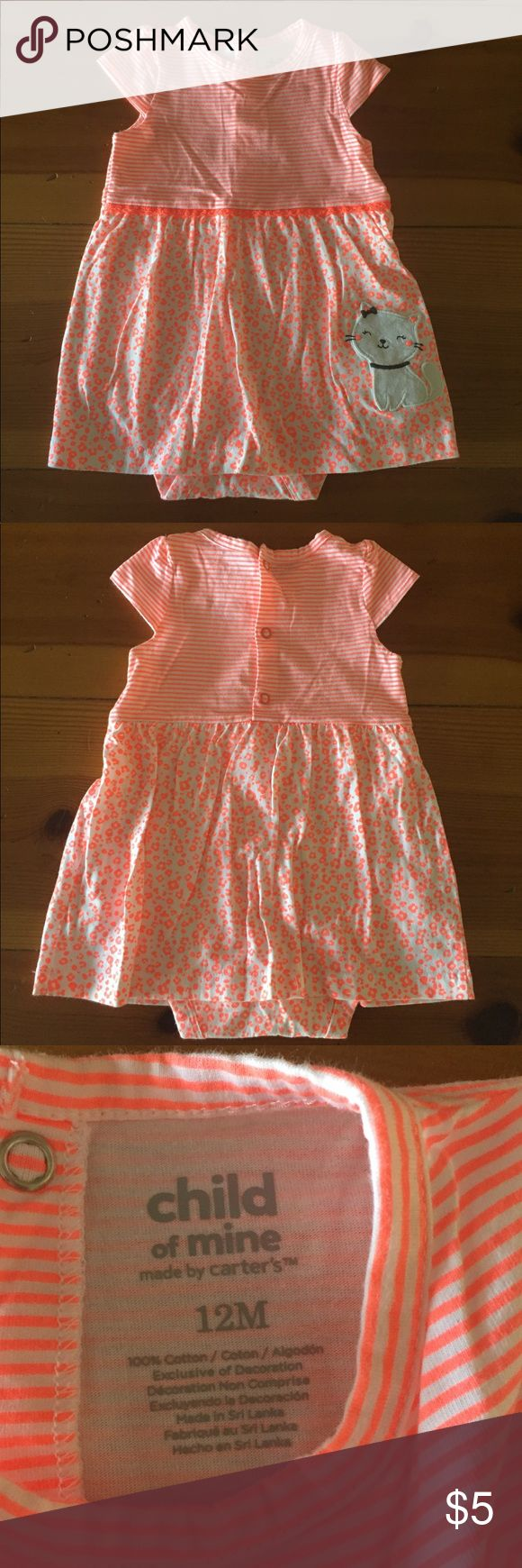 Child of mine cute girls dress size 12 months Never worn only pre washed child of mine by carters brand dress. Size 12 months. Has snaps on the bottom like a onsie top🙂👍🏻. 💜 in excellent condition.  *MUST BUNDLE 2 OR MORE TO RECEIVE AT $5** Carter's Dresses Casual