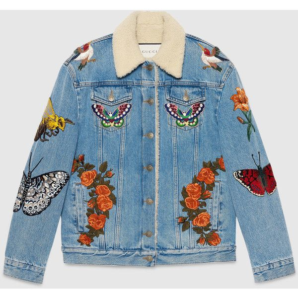 Gucci Embroidered Denim Jacket (137 385 UAH) ❤ liked on Polyvore featuring outerwear, jackets, tops, coats, denim, leather & casual jackets, ready-to-wear, women, blue leather jacket and jean jacket