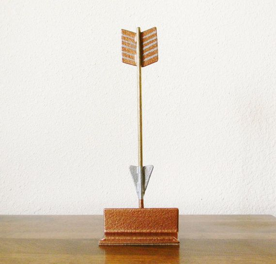 Welded Arrow Business Card Holder in Gold Copper and Silver