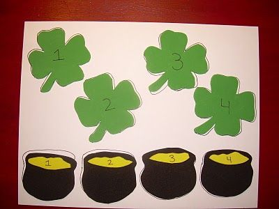 St. Patrick's Day Hide-and-Seek.  This would be fun to use with larger numbers or matching lower-case and capital letters.