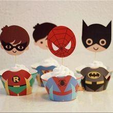 24 unids Avengers magdalenas delimitadas y tarjeta insertada, spiderman, batman, superman, Iron man, decoración de pasteles, suministros de decoración(China (Mainland))