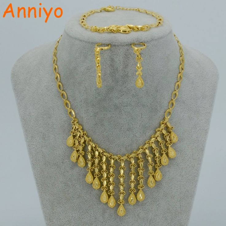 2017 Arab Bride Jewelry Sets Necklace/Bracelet/Earrings Gold Plated Party set Ethiopian Wedding African/Nigeria Gift #004310