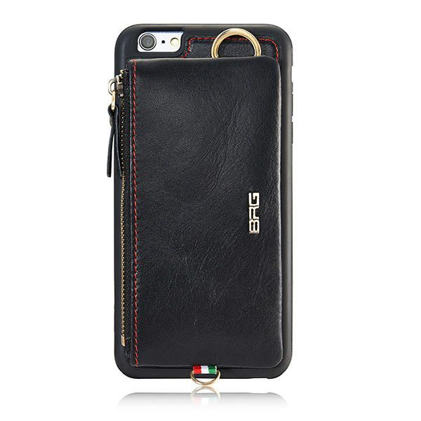 BRG Detachable Card slots Zipper Wallet Bag Leather Case With Hanging Hook for iPhone 6/6s Plus Sale - Banggood.com
