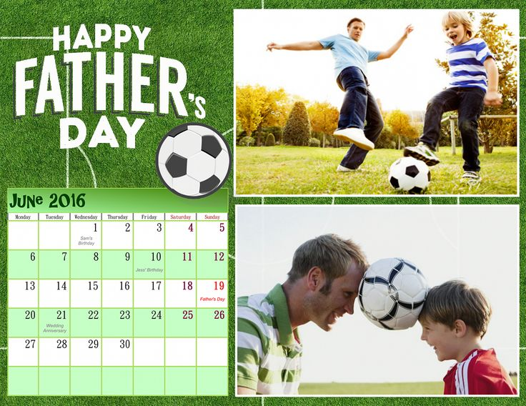 Help your dad save up some time to spend it with his family. Make a personalized Father's Day calendar with http://photo-calendar-software.com to beautify his workplace! #FathersDay #MonthlyCalendar