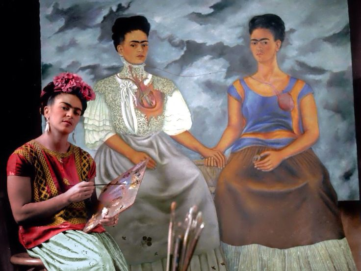 "Frida Kahlo painting ""Las Dos Fridas"", 1939. Photo by Nickolas Muray. Colorized by painters-in-color"