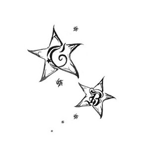 star tattoo.. possible mother tat with boys initials?