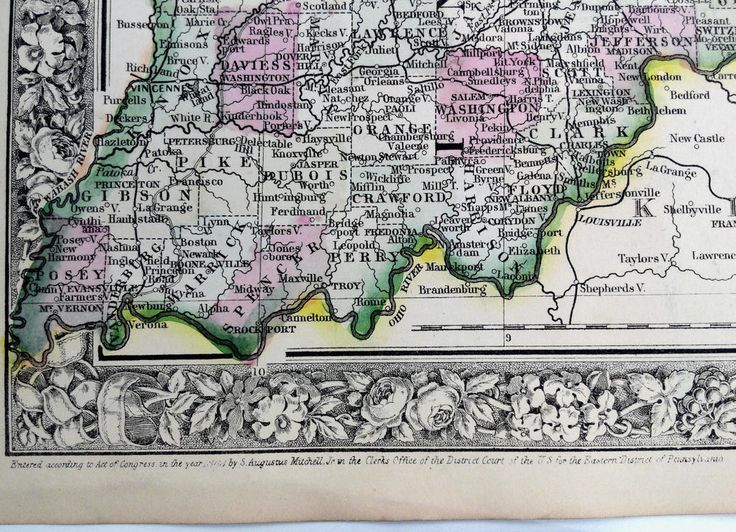 26 best 1860 1865 mitchells new general atlas hand tinted 1864 mitchells huge hand tinted colored county map of ohio and indiana gumiabroncs Image collections