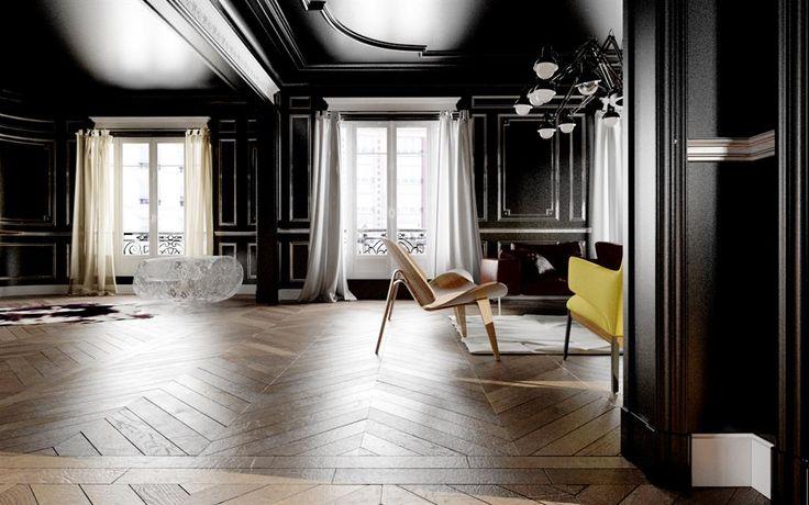 Mur Noir Dans Salon #15: Murs Et Plafond Peints En Noir Dans Ce Salon Pour Un Contraste Intéressant  | Plafond | Pinterest | Photos And Salons